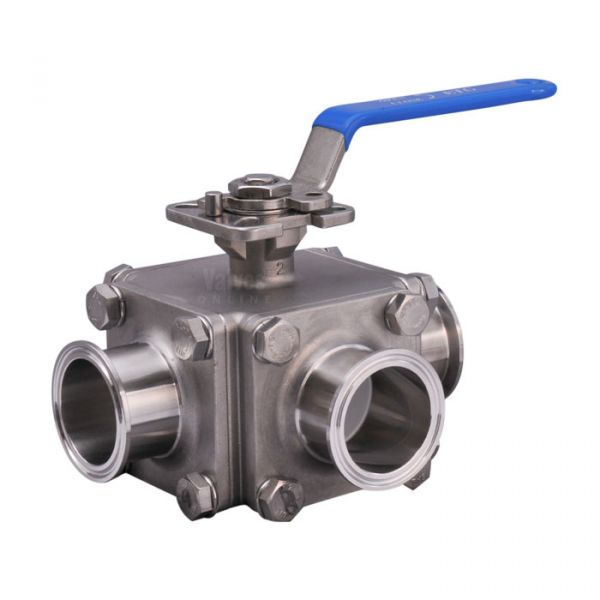 Stainless Steel Ball Valve 3 Way Hygienic Direct Mount Clamp End