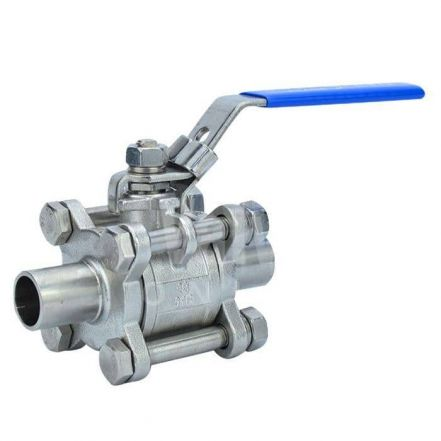 Economy Manual Sanitary 3 Piece Ball Valve - Weld Ends