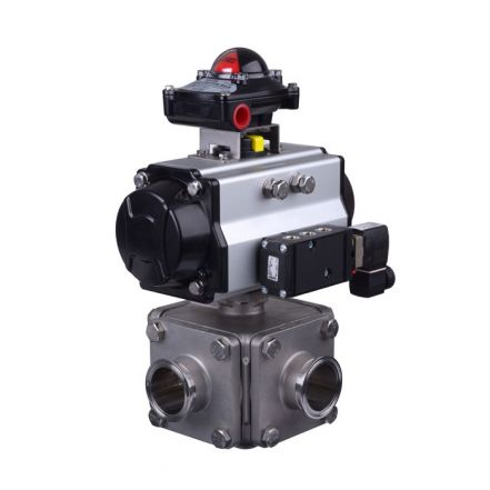 Pneumatic Actuated 3 Way Hygienic Ball Valve
