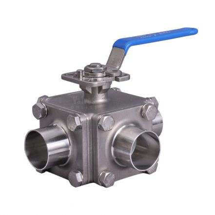 Stainless Steel Ball Valve 3 Way Hygienic Direct Mount Weld End